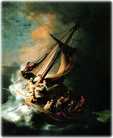 Christ in the Storm on the Sea of Galilee, original oil painting on canvas by Rembrandt Harmenszoon van Rijn, 1606-1669, size 63 x 50 inches, 1633