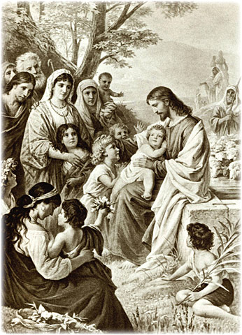 Christ Blessing the Children, original oil painting on canvas by Bernard Plockhorst, before 1938